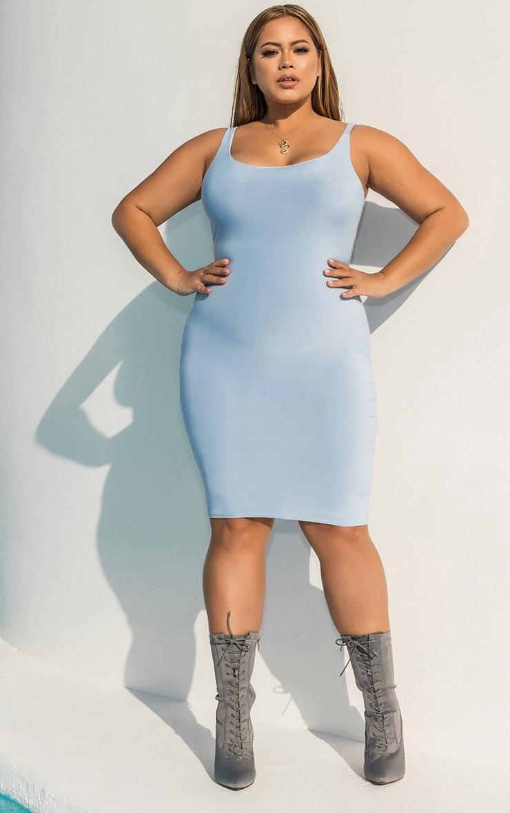 Plus Dusky Blue Second Skin Slinky Scoop Neck Midi Dress 1