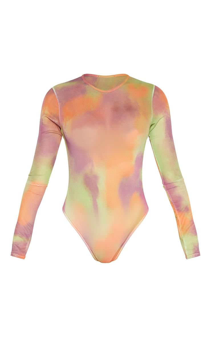 Multi Tie Dye Printed Sheer Mesh Crew Neck Bodysuit 3