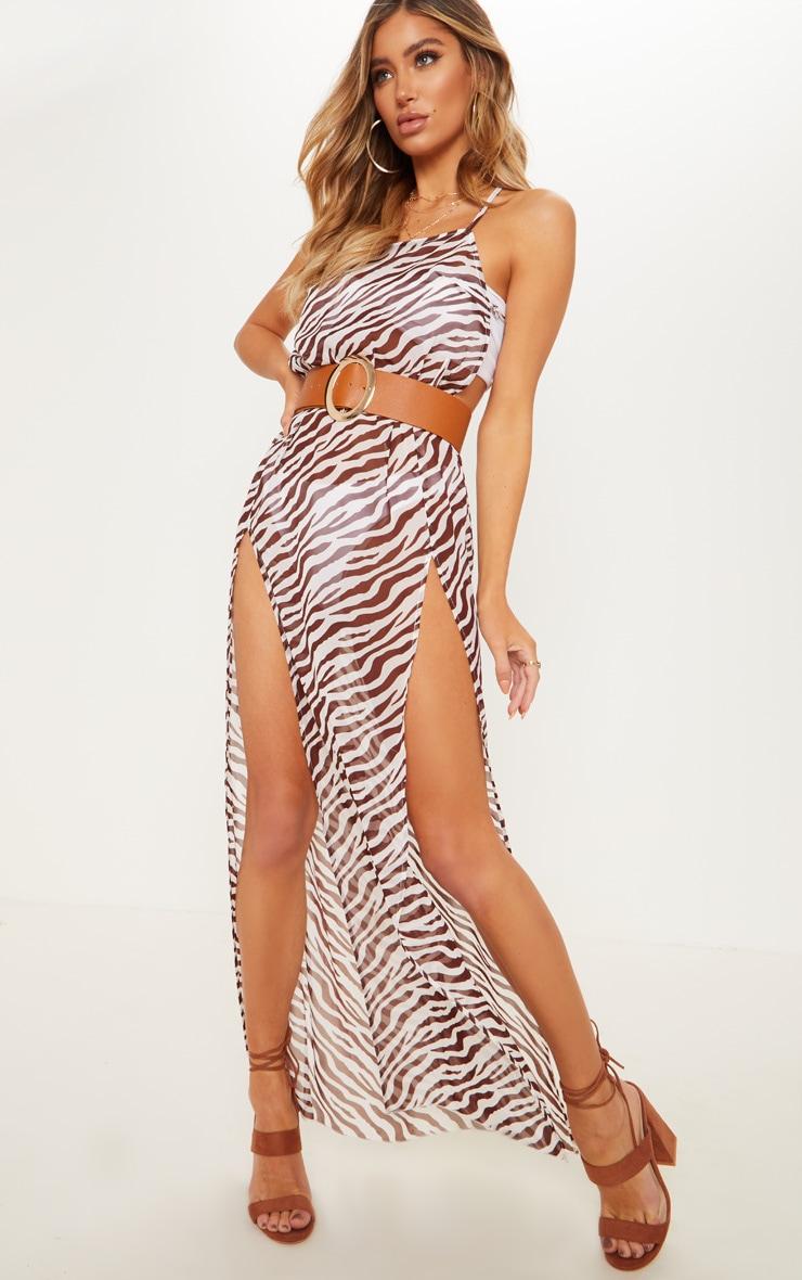 Brown Zebra Belted Split Beach Maxi Dress 5