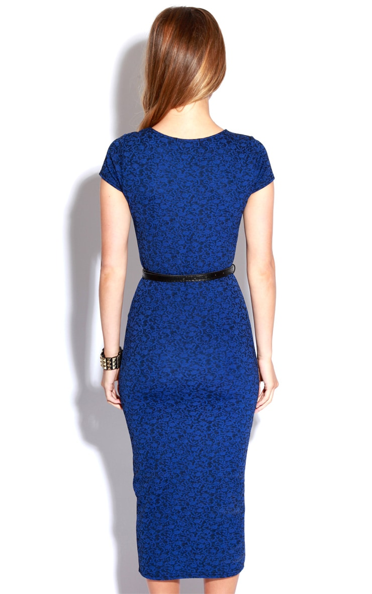 Paige Blue Flock Pattern Midi Dress 3