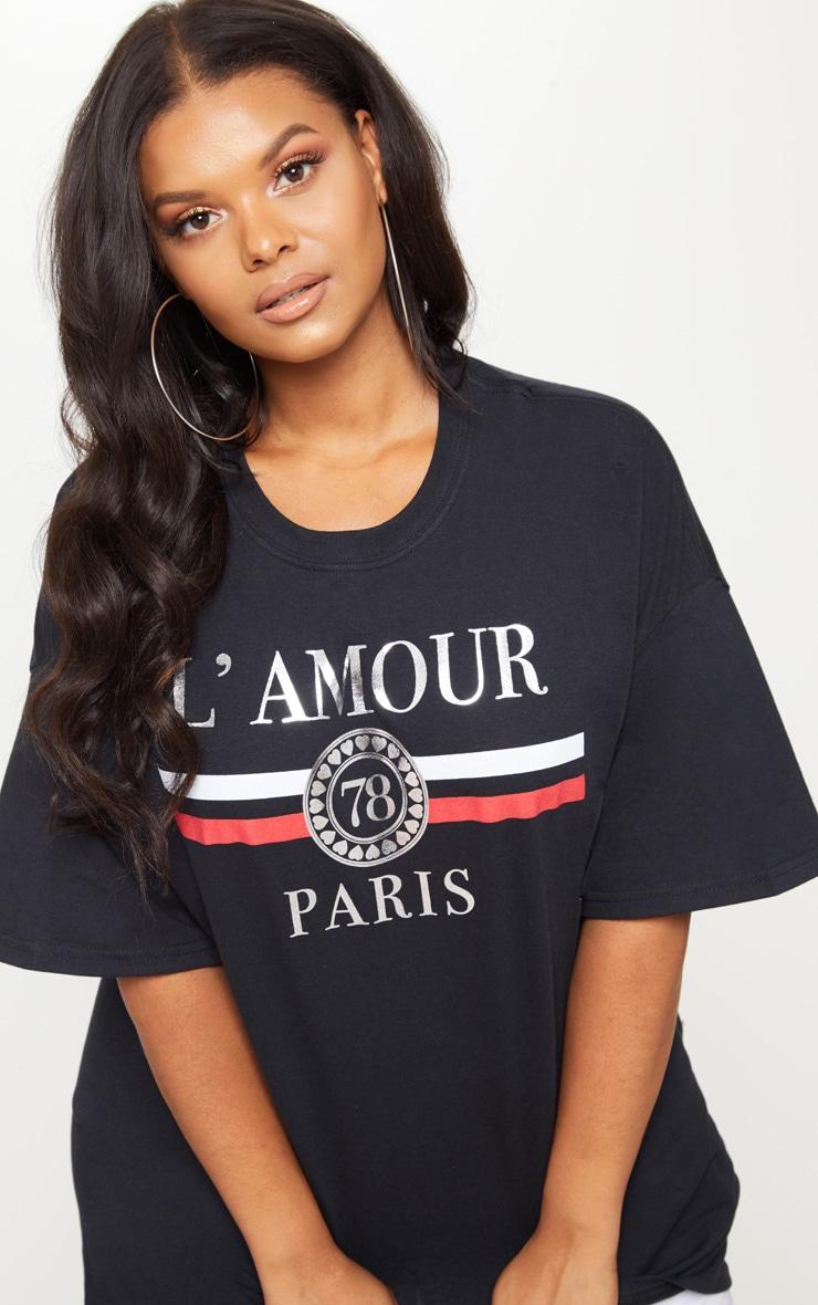 Plus Black Lamour Slogan Foil Print T Shirt 5