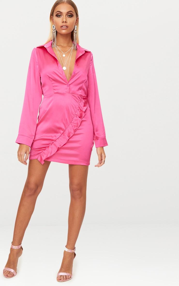 Hot Pink Frill Detail Shirt Dress 4