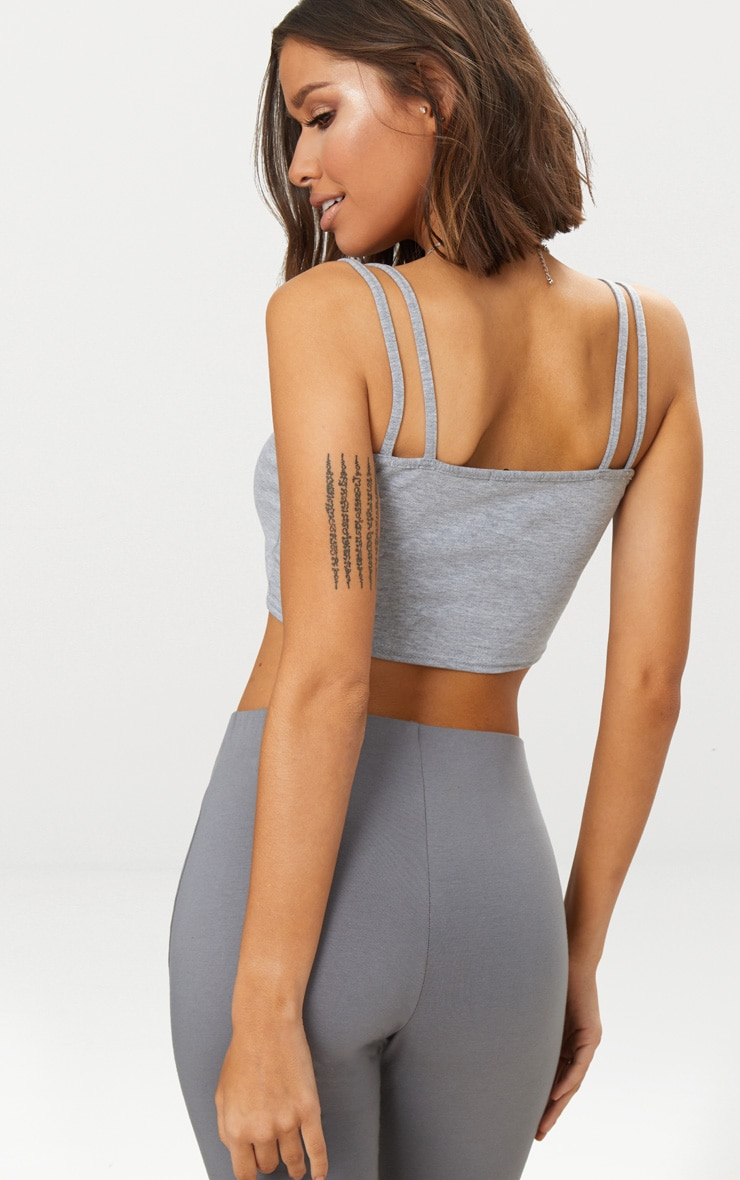 Grey Jersey Double Strap Crop Top 2