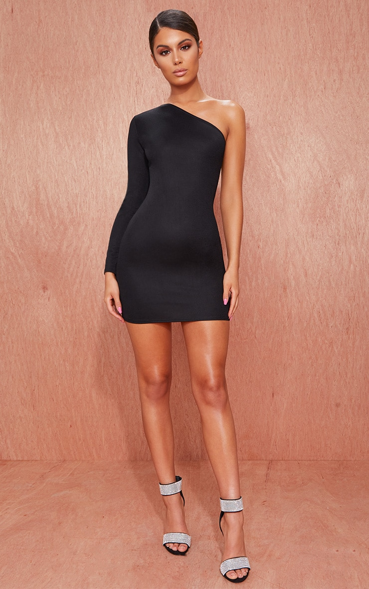 Black Crepe One Sleeve Bodycon Dress 1