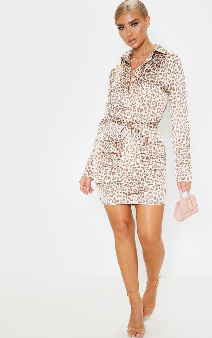 Beige Leopard Satin Ruched Shirt Dress 5