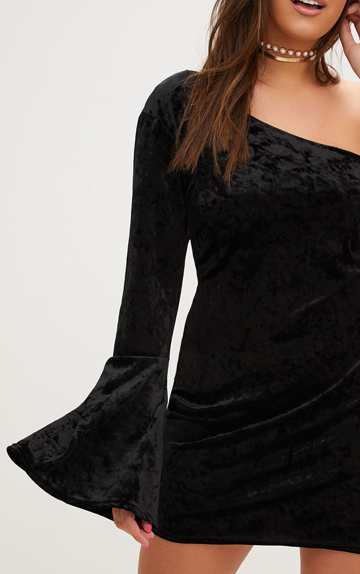 Plus Black Crushed Velvet One Shoulder Bodycon Dress 5