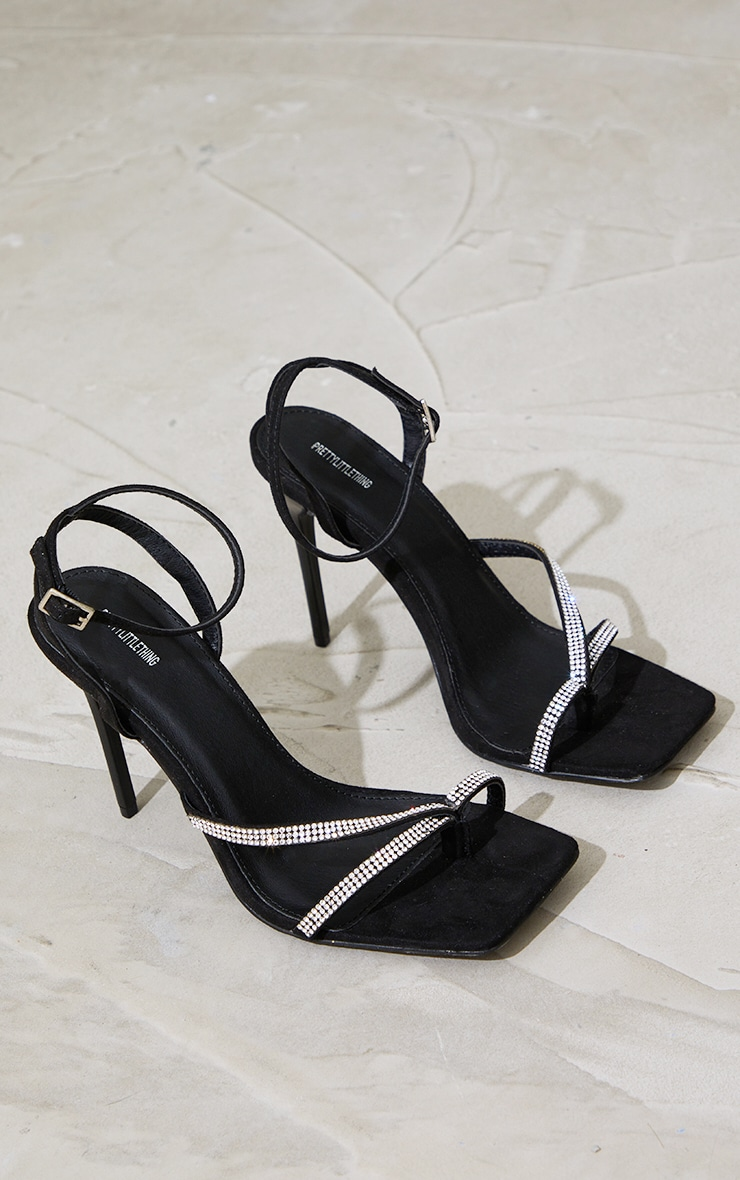 Black Toe Through Strappy Square Toe Heeled Sandals 4