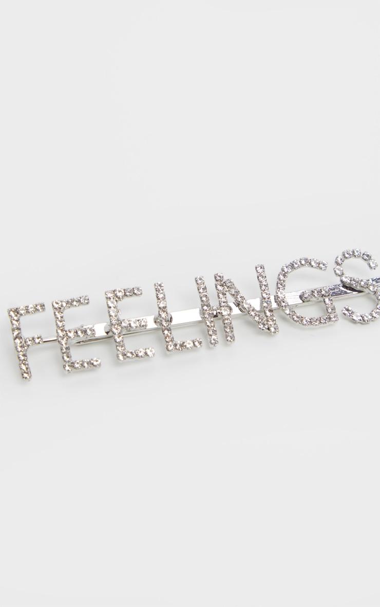 Silver Diamante Feelings Slogan Hair Slide 4