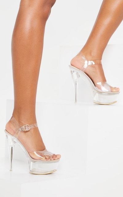 Sandales Plateforme Femmes Bout Ouvert T-Strap Lucite Clear Slip on Compens/é Mule avec Bijou Strass
