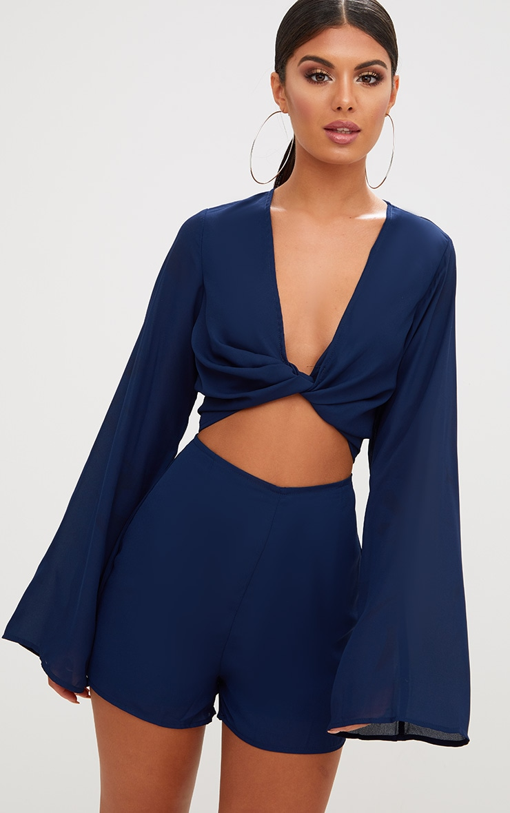 Navy Bell Sleeve Playsuit 1