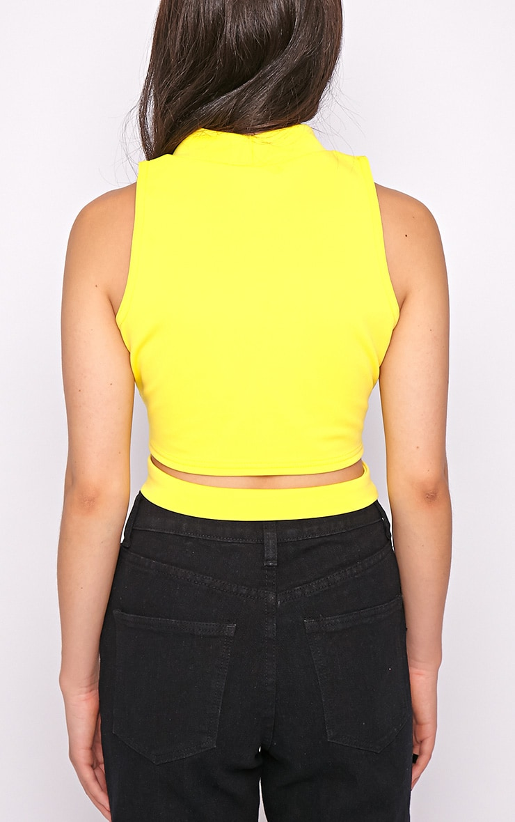 Selina Yellow Tie Front Crop Top -S/M 2