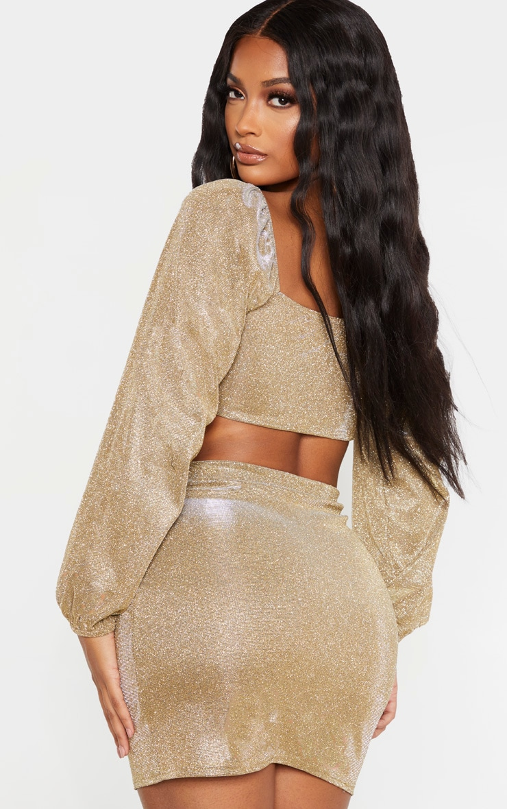 Shape Gold Glitter Ruched Front Long Sleeve Crop Top 2