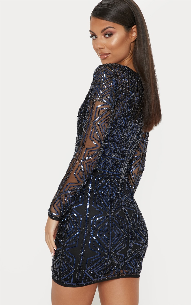 Black Sequin Embellished Bodycon Dress 2