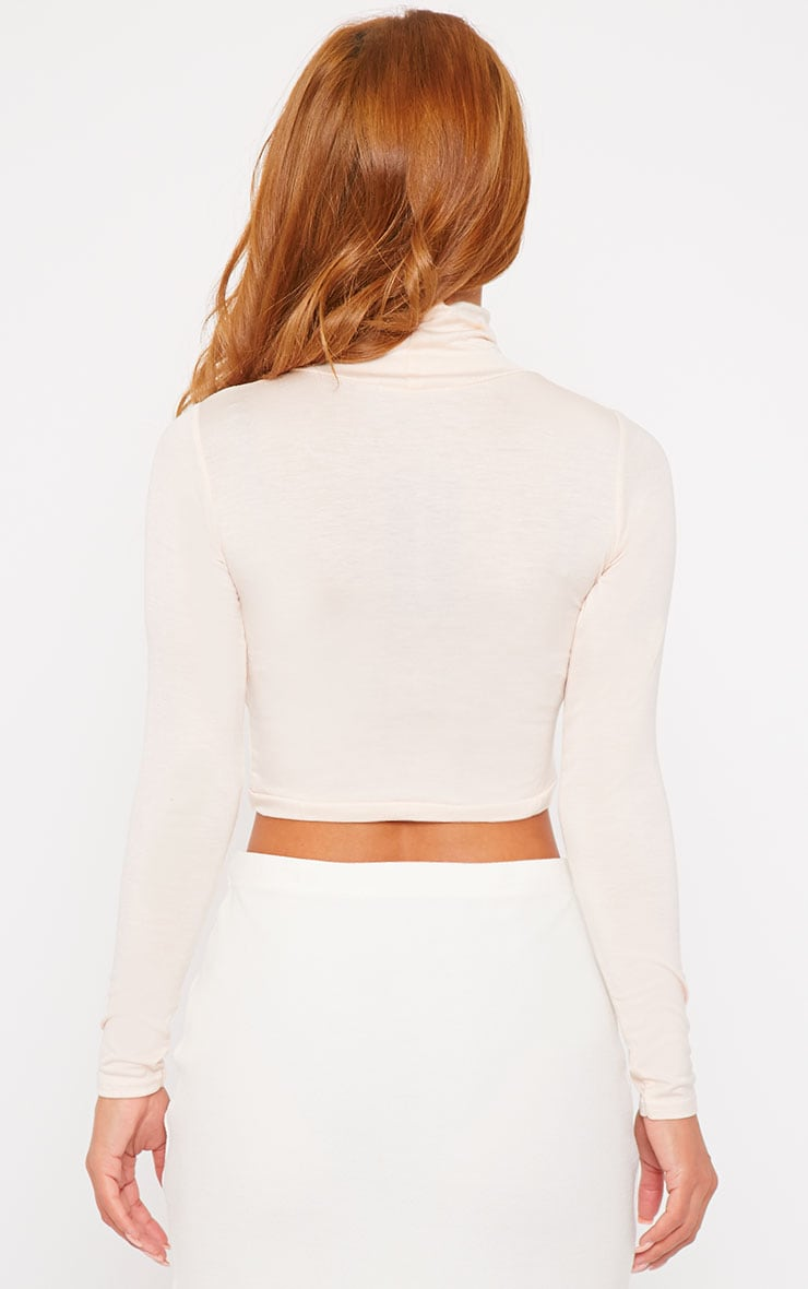 Basic Nude Roll Neck Crop Top 2