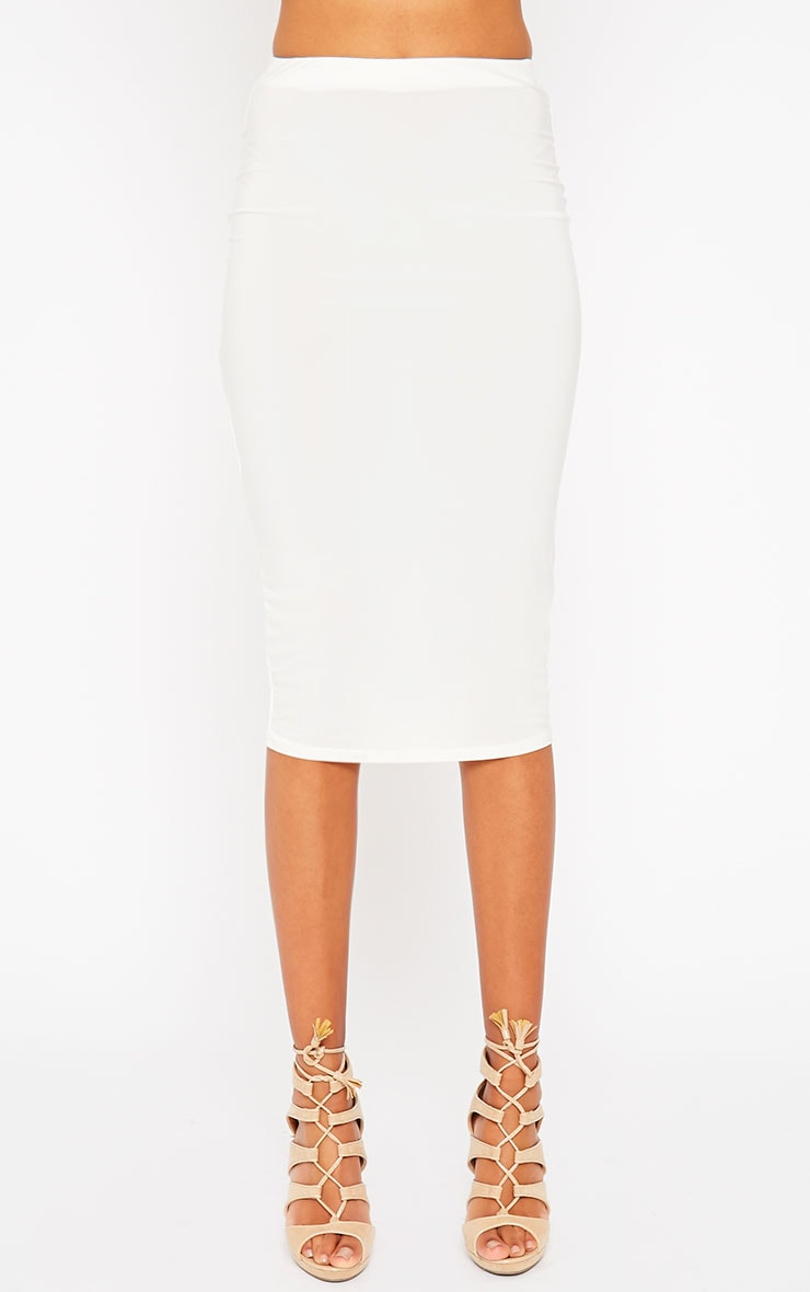 Siobhan Cream Slinky Midi Skirt 2