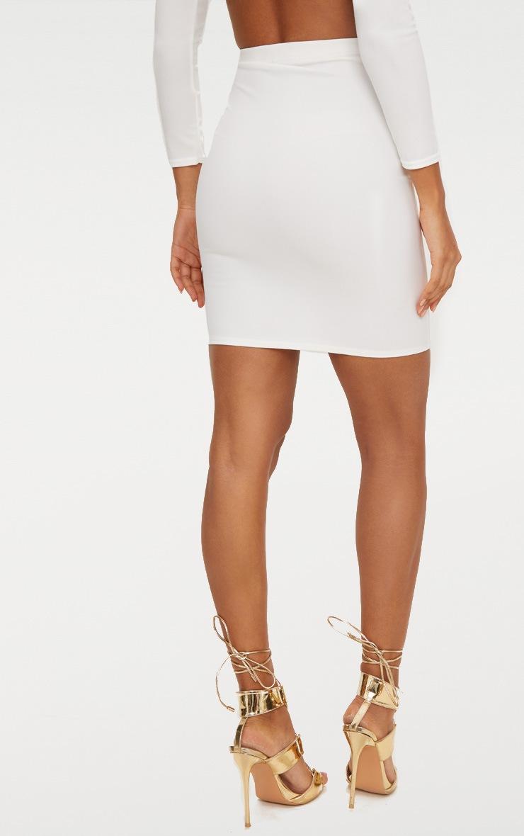 White High Waisted Gold Button Mini Skirt  4