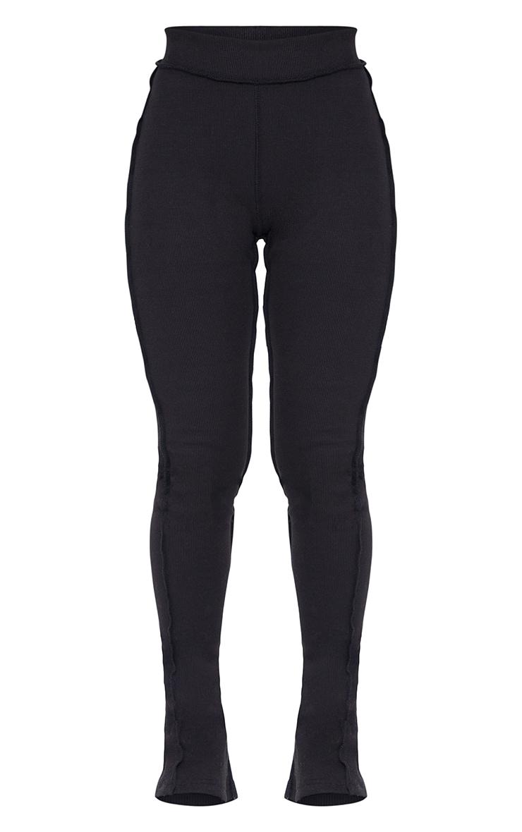 Black Structured Rib Stitch Detail Split Hem Flared Pants 5