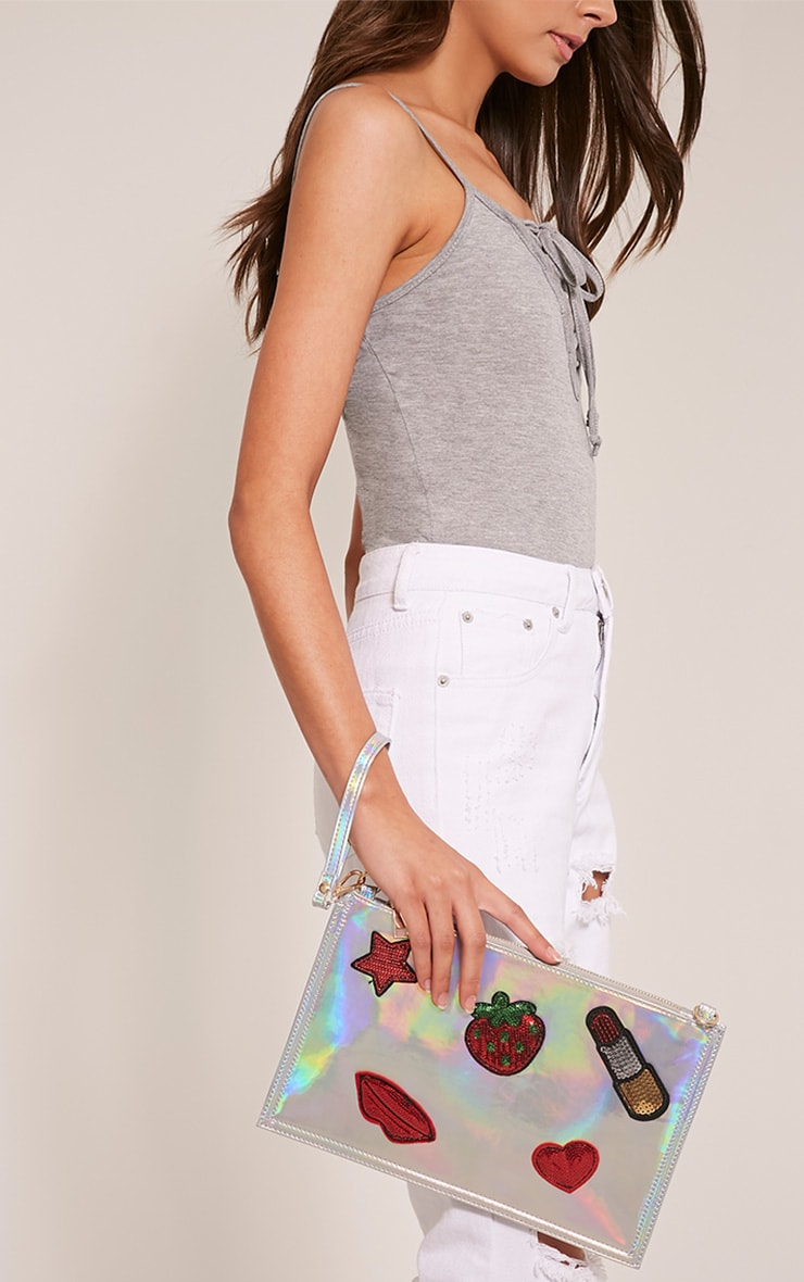 Carly Silver Holographic Patch Detail Clutch Bag 5