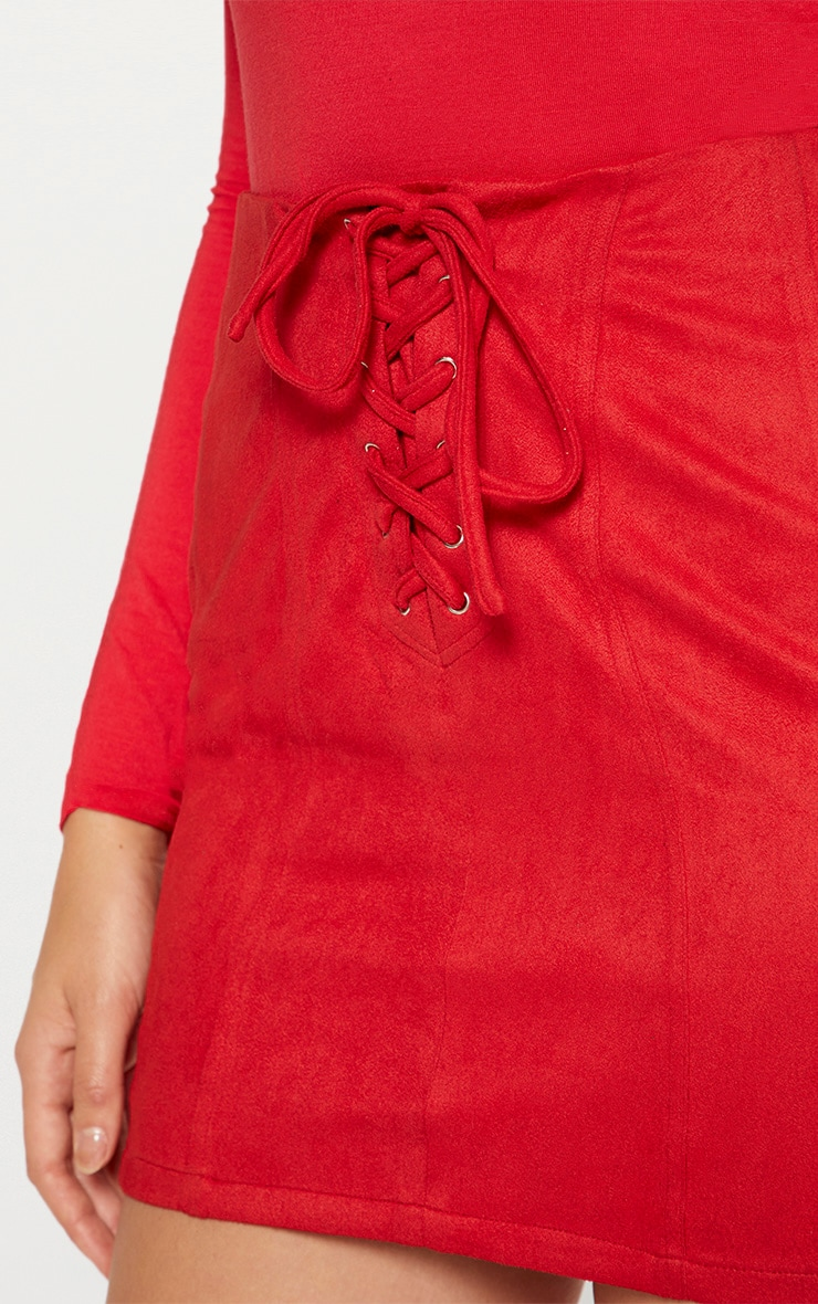 Red Faux Suede Seam Detail Lace Up Mini Skirt 6