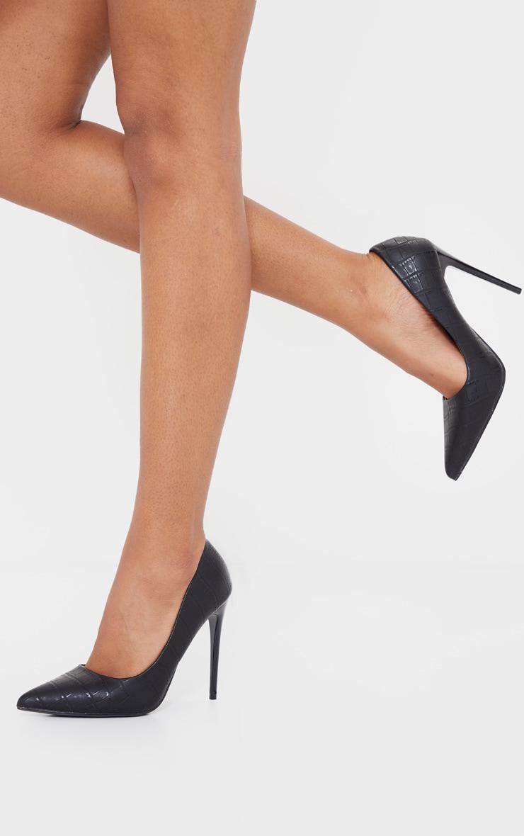 Escarpins noirs effet croco mat en similicuir à talon haut 1
