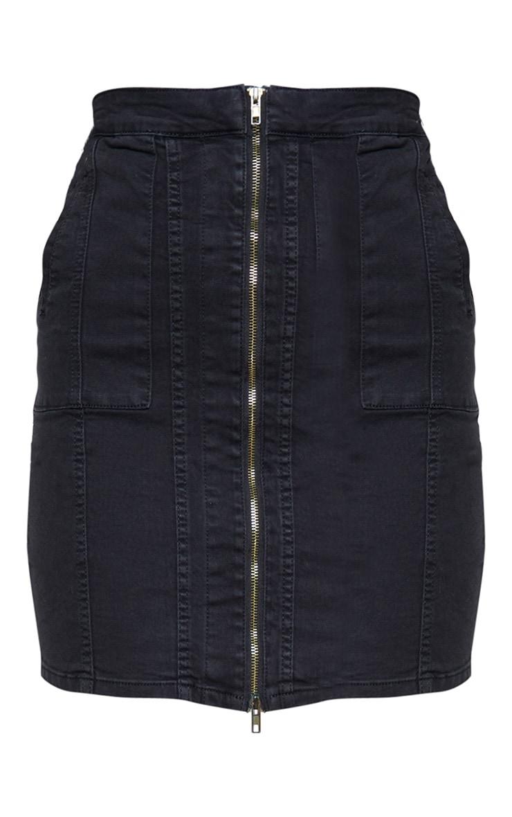 Jupe mi-longue noire à coutures et zip frontal 3
