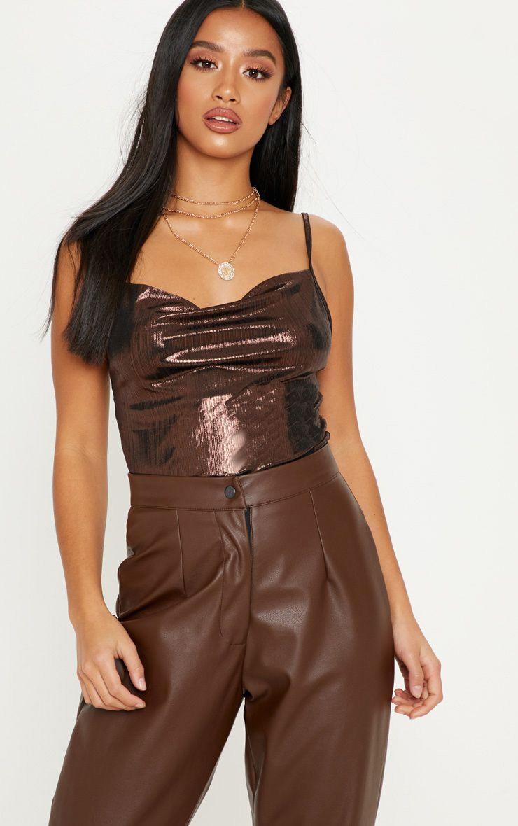 Petite Chocolate Brown Metallic Cowl Neck Cami Top 1