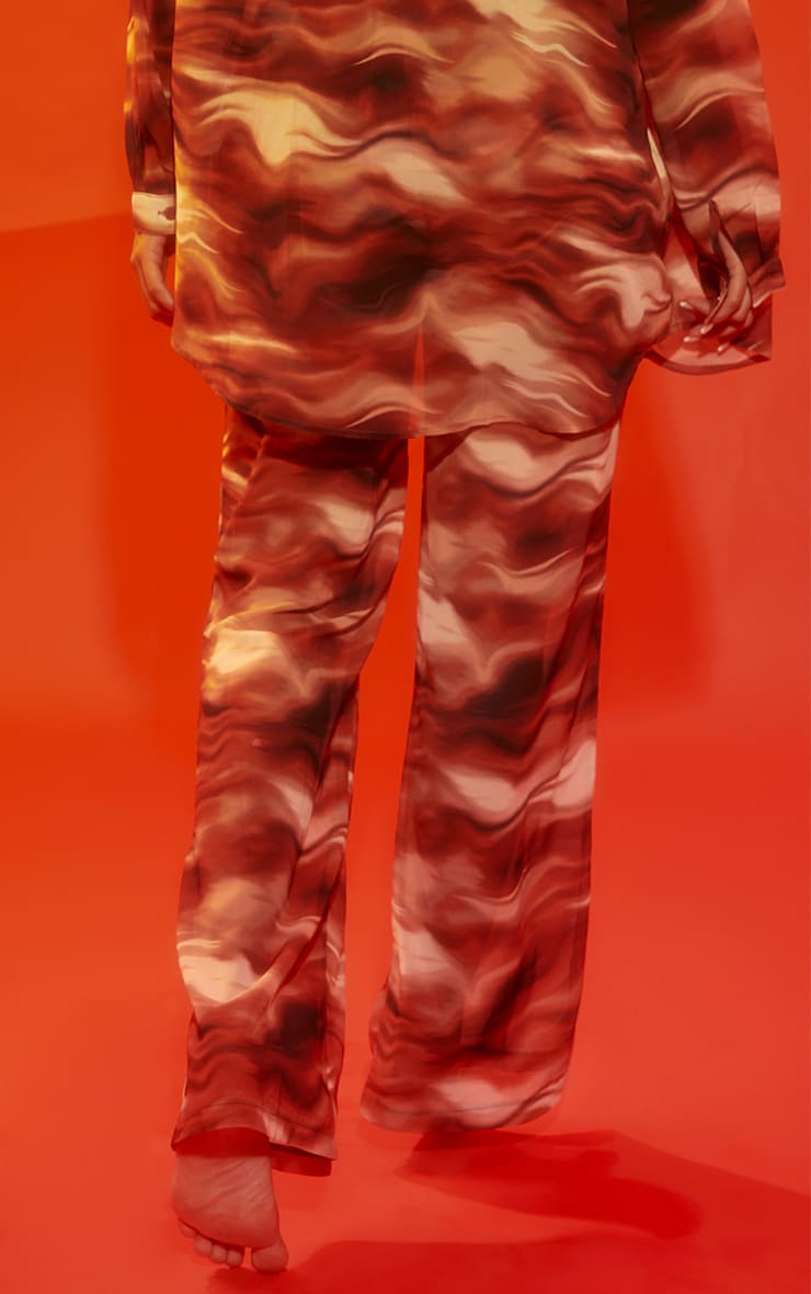 Brown Abstract Wave Print Beach Trousers 3