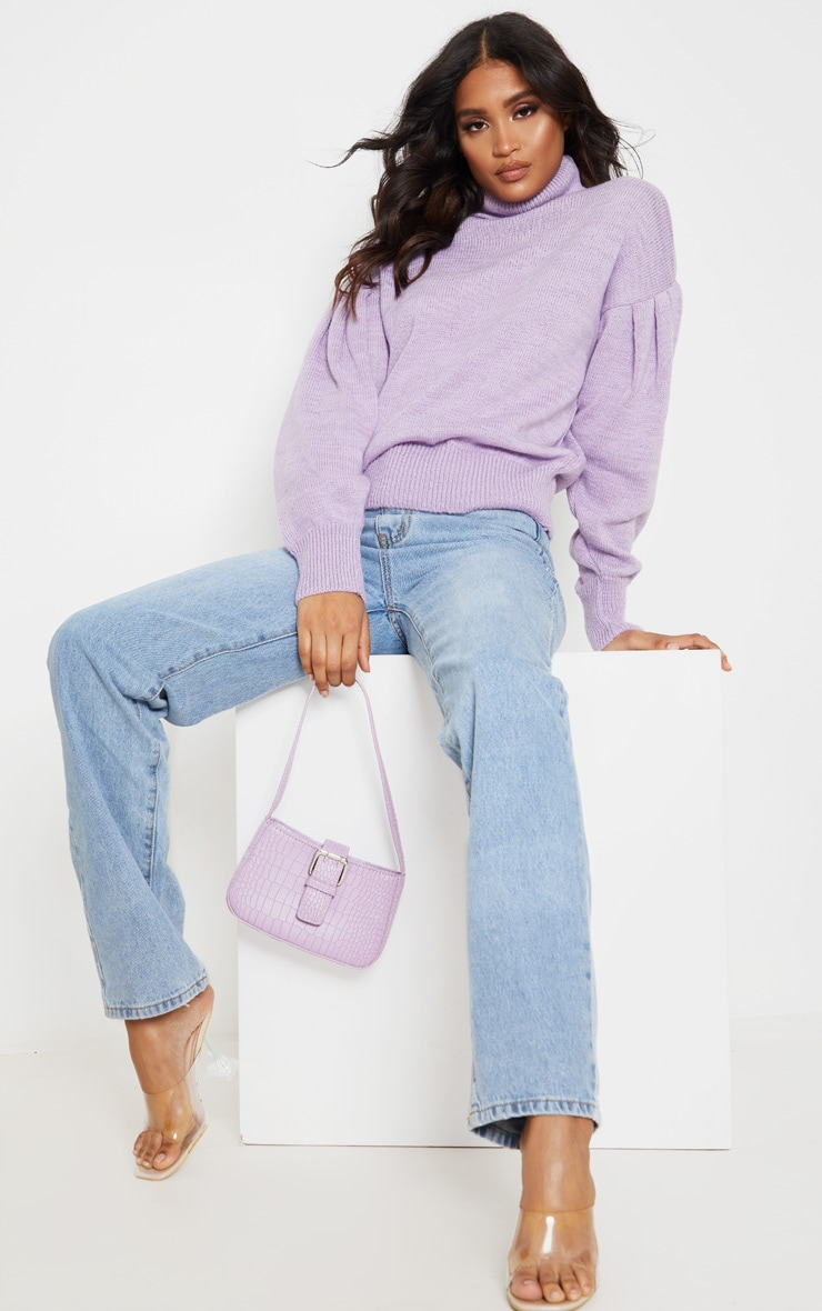Lilac Oversized Puff Sleeve Roll Neck Sweater 1