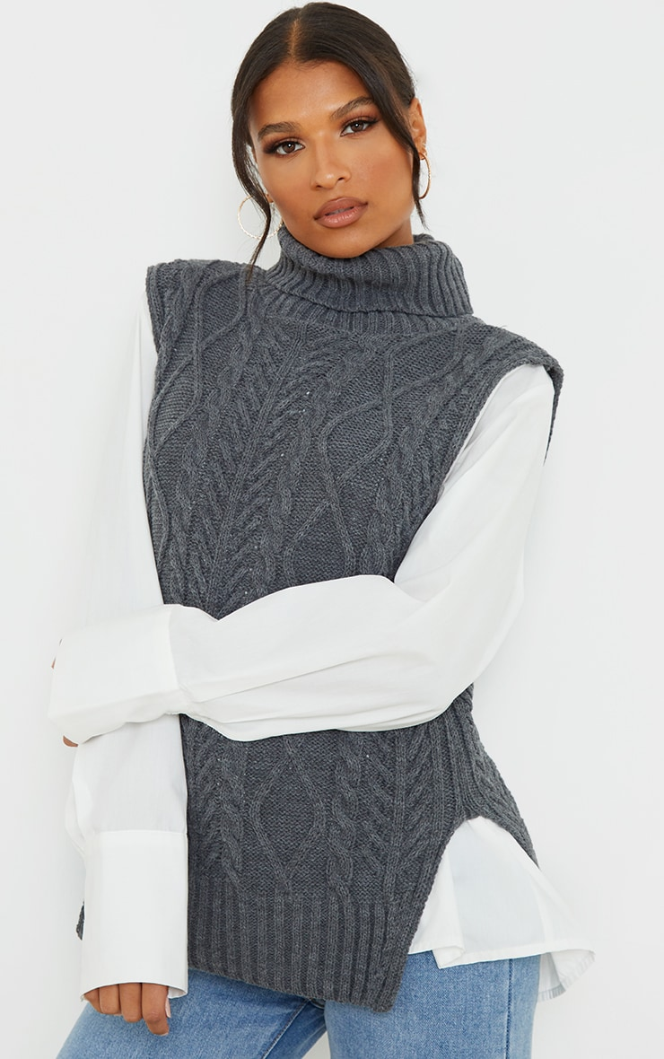 Charcoal Longline Sleeveless Cable Roll Neck Jumper 1