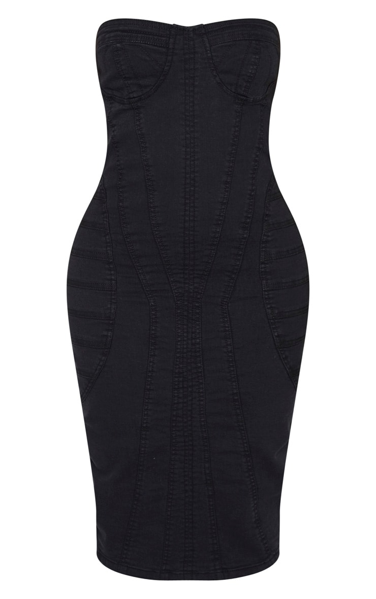 Shape Black Denim Corset Detail Midi Dress 3