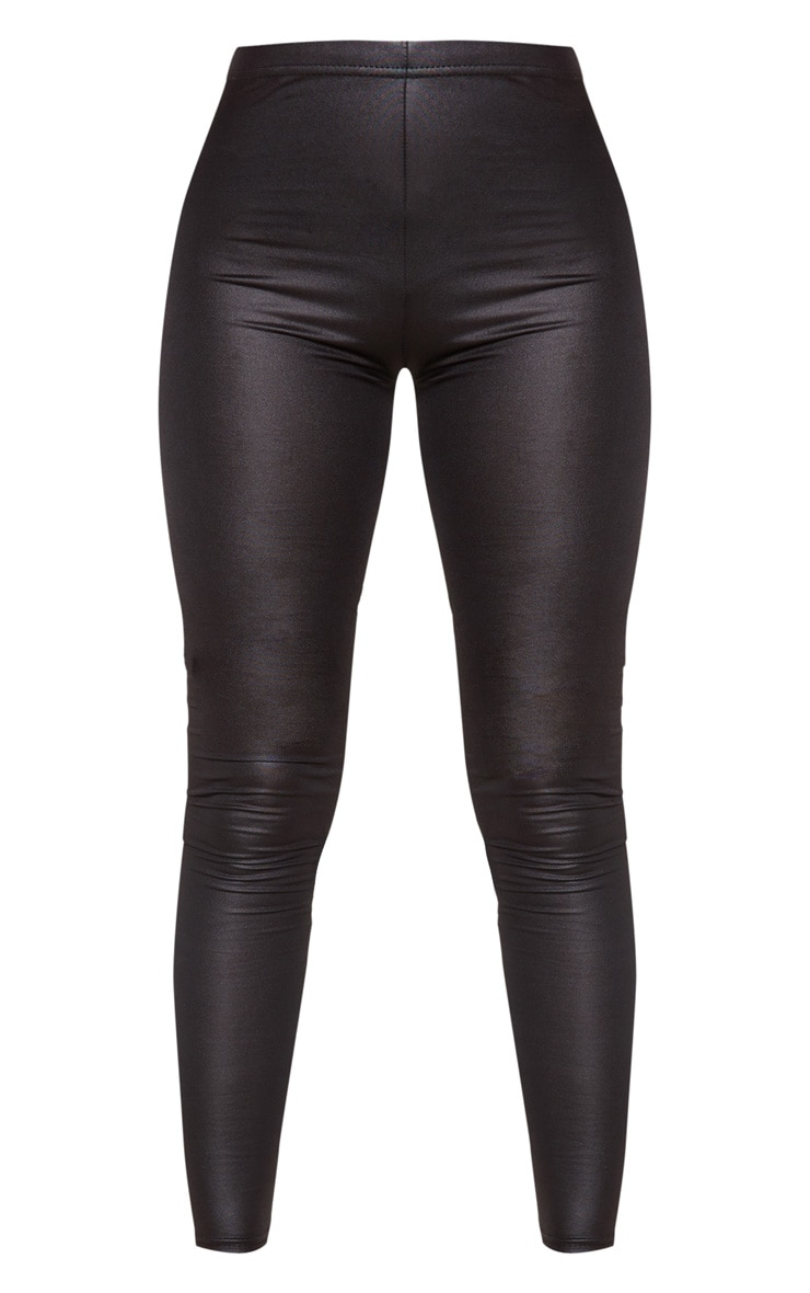 Petite Black Stretch PU Leggings 3