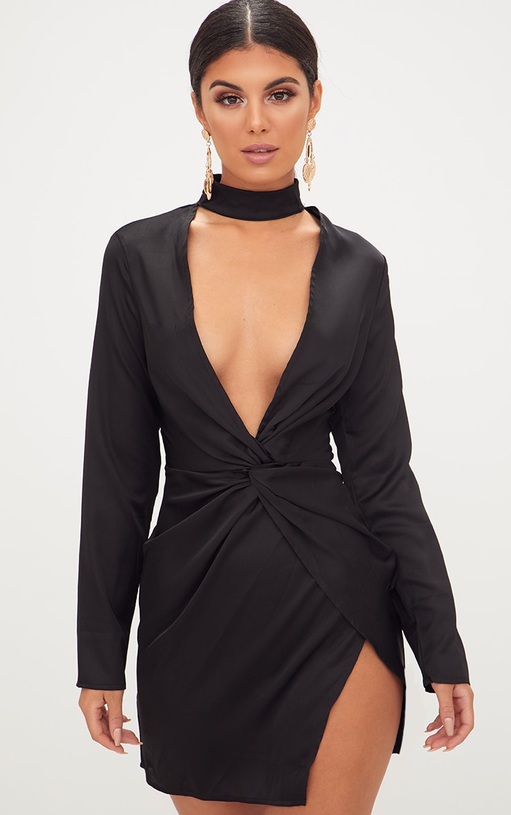 Black Satin Choker Detail Wrap Bodycon Dress 1