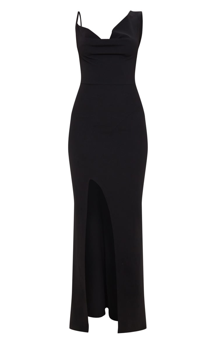 Black Asymmetric Cowl Neck Maxi Dress 3