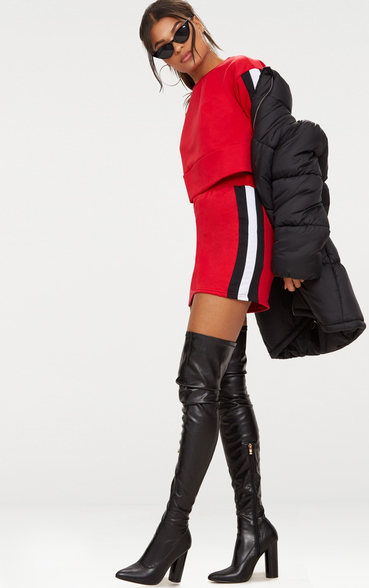 Red Contrast Side Panel Sweat Mini Skirt  5