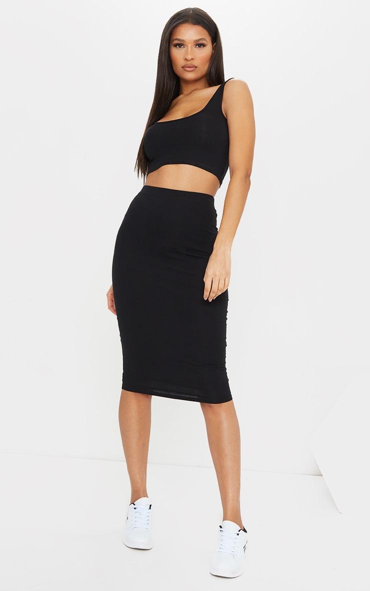 Black Essential Cotton Blend Jersey Midi Skirt 1