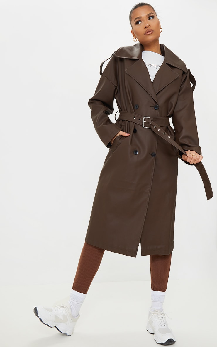 Chocolate Faux Leather Pocket Trench image 3