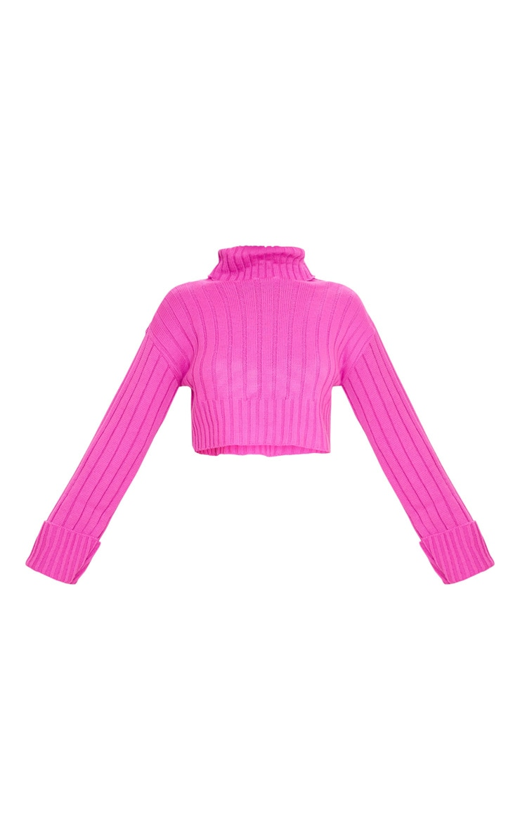 Hot Pink Knitted Rib Cropped Jumper 6