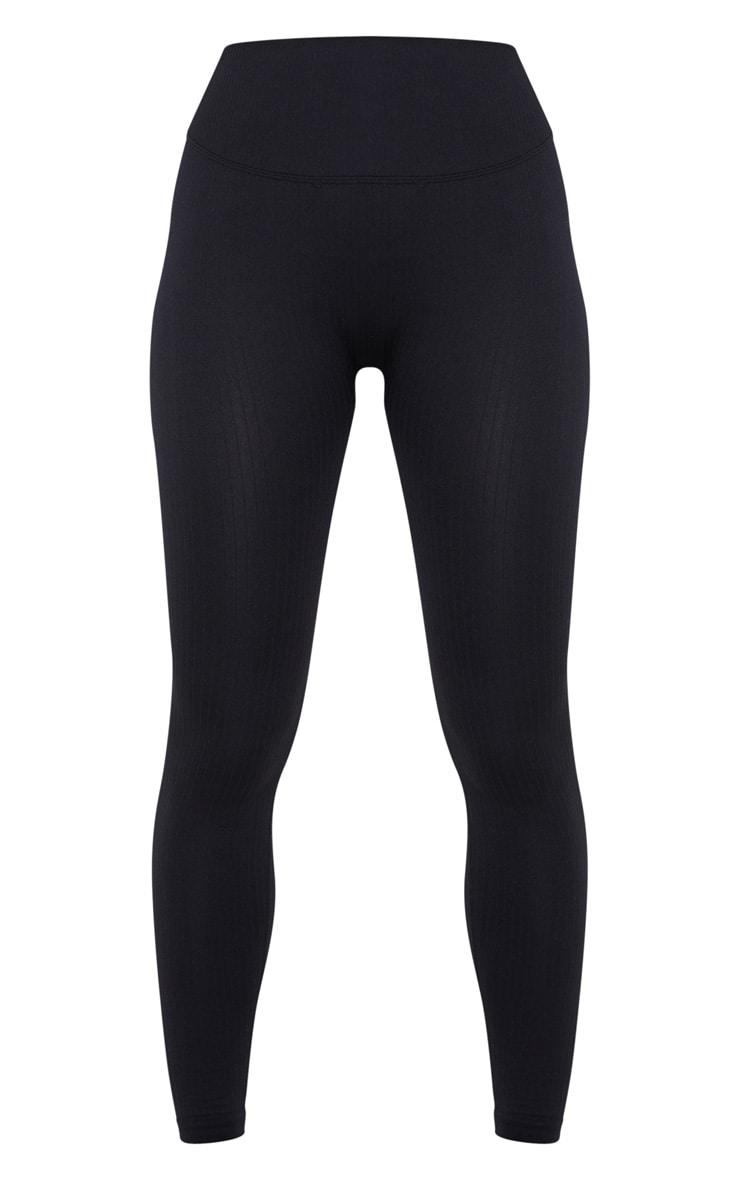 Legging de sport sans coutures côtelé noir 3