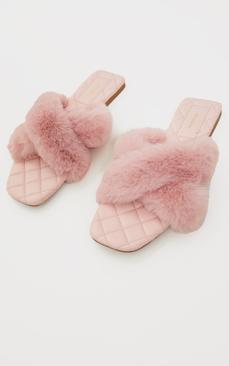 Pink Faux Fur Cross Strap Square Toe Sandals 3