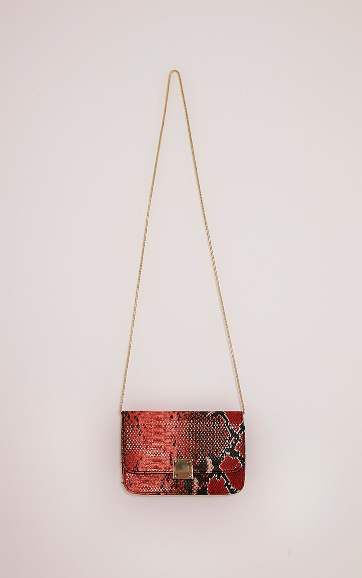 Harriet Red Snake Print Shoulder Bag 4
