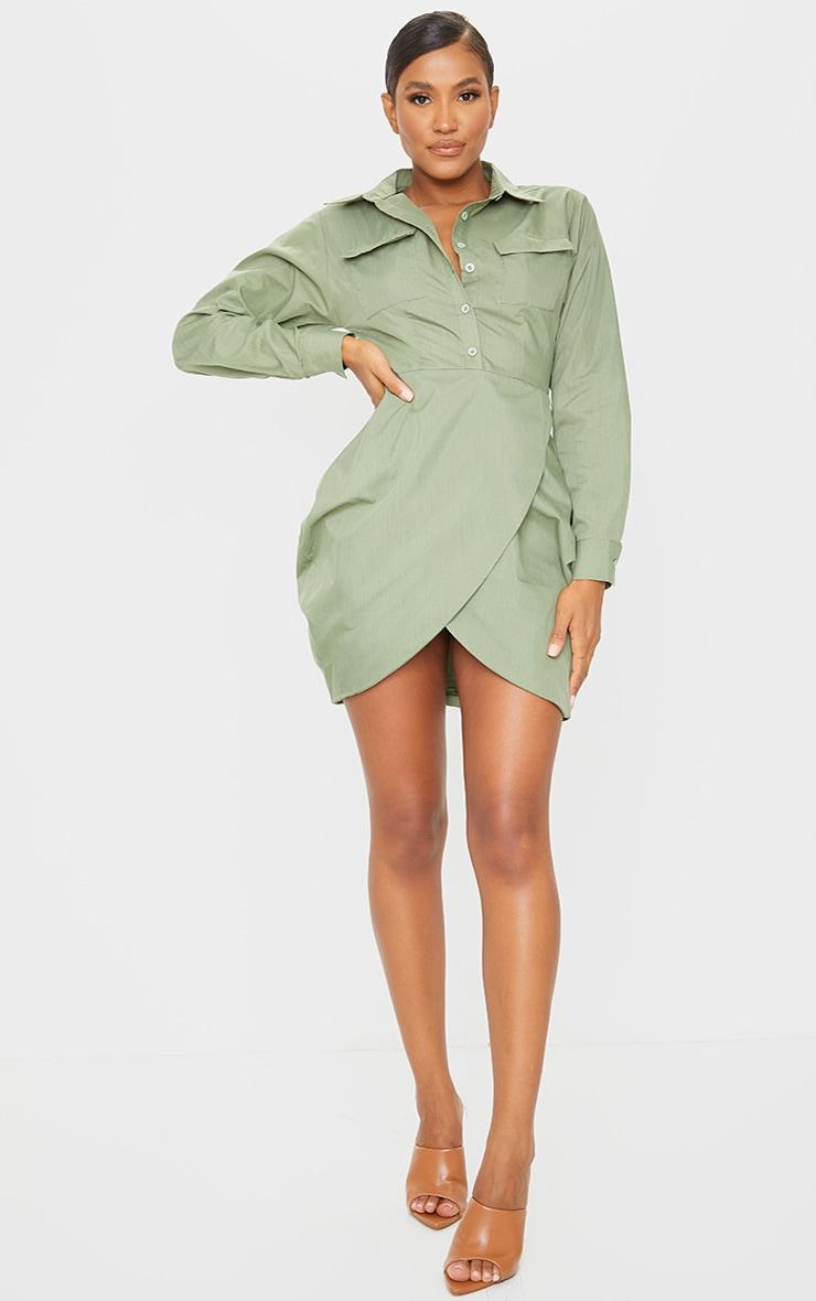 Khaki long sleeve wrap skirt bodycon dress