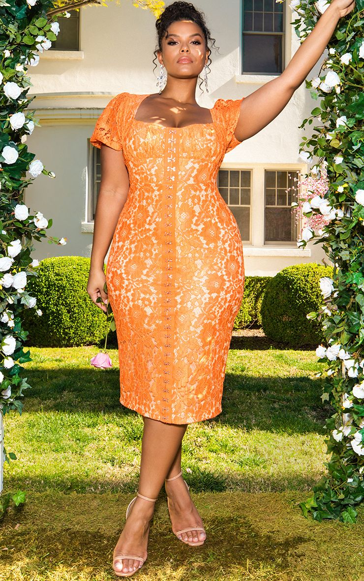 Orange Lace Puff Sleeve Midi Dress 1