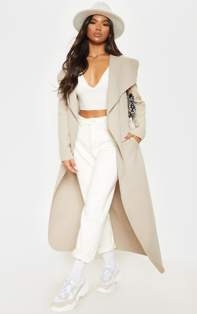Stone Maxi Length Oversized Waterfall Belted Coat