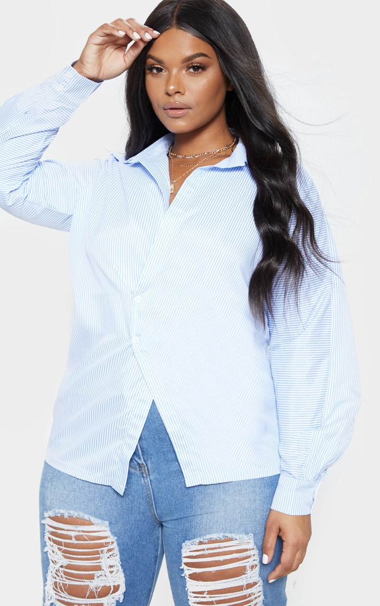Plus Blue Pinstripe Button Detail Blouse  1