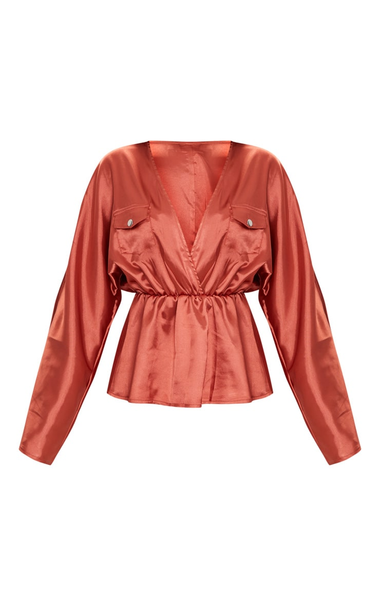 Burnt Orange Satin Plunge Pocket Detail Blouse      3