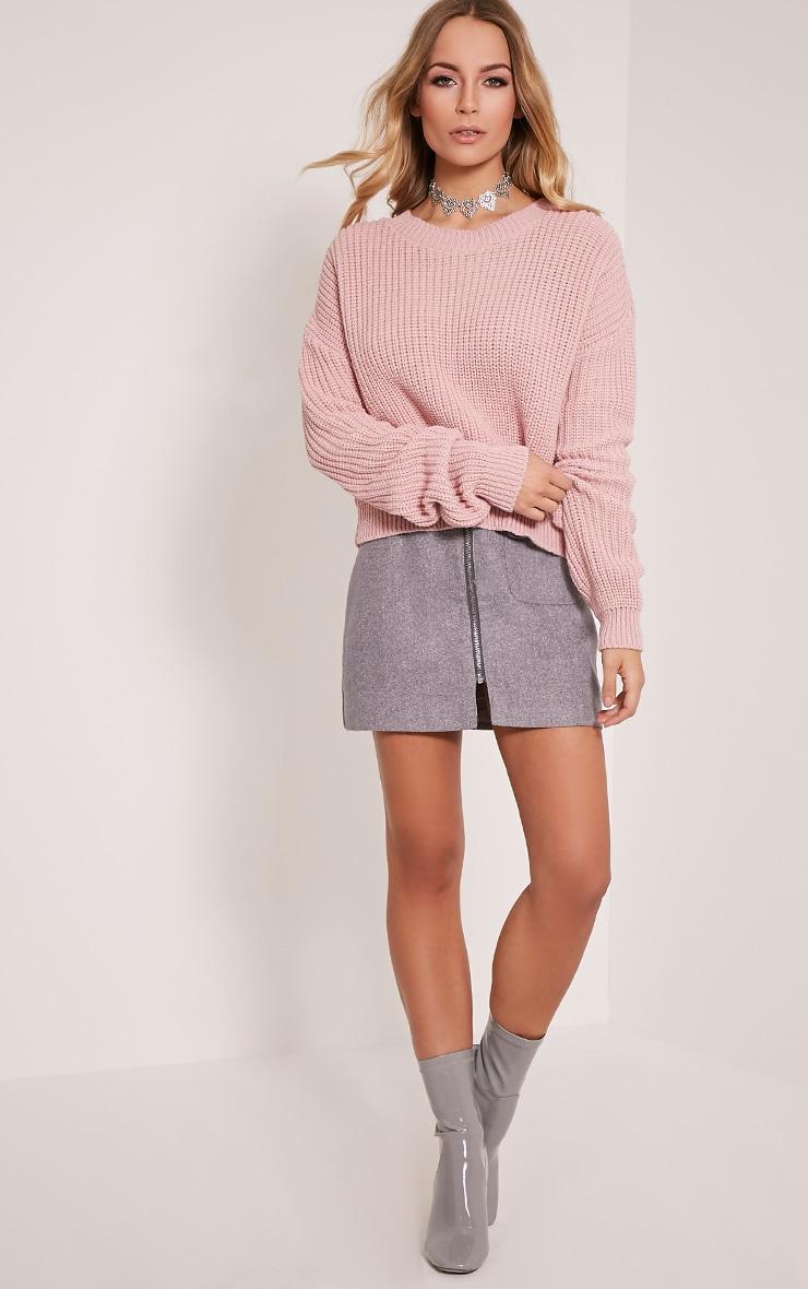 Cara pull court tricoté rose pâle 5