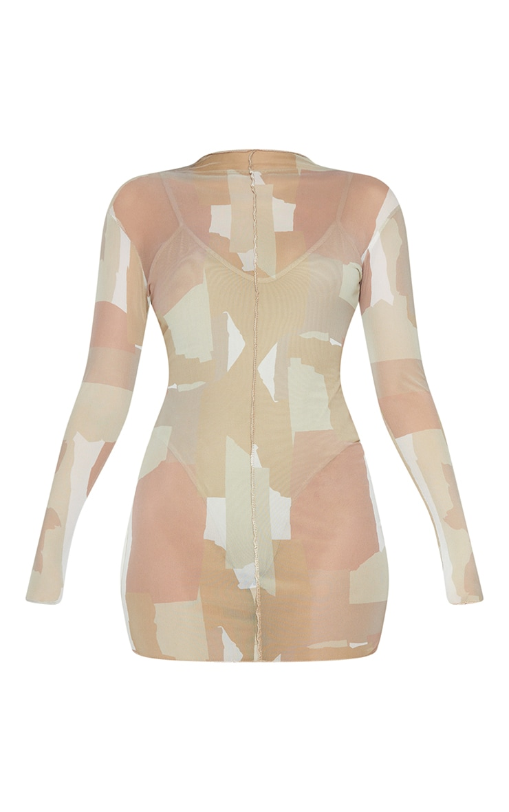Nude Abstract Print Mesh Long Sleeve Stitch Detail Bodycon Dress 5