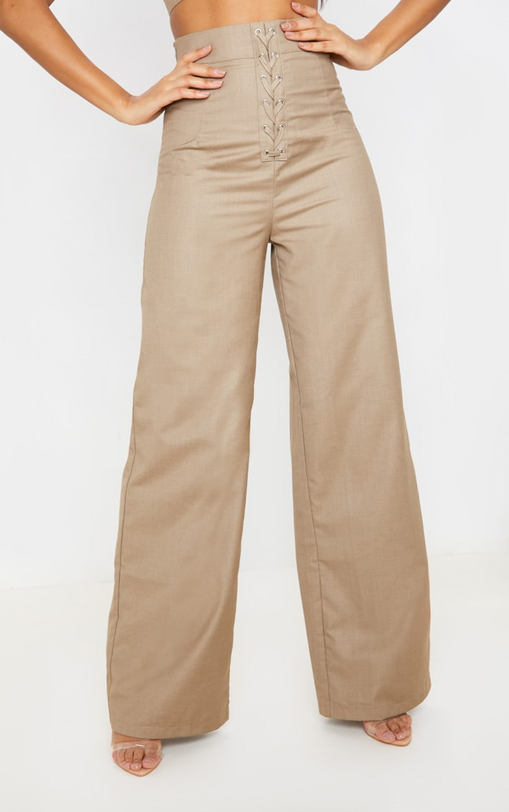 Stone Woven Extreme High Waist Wide Leg Trousers 2