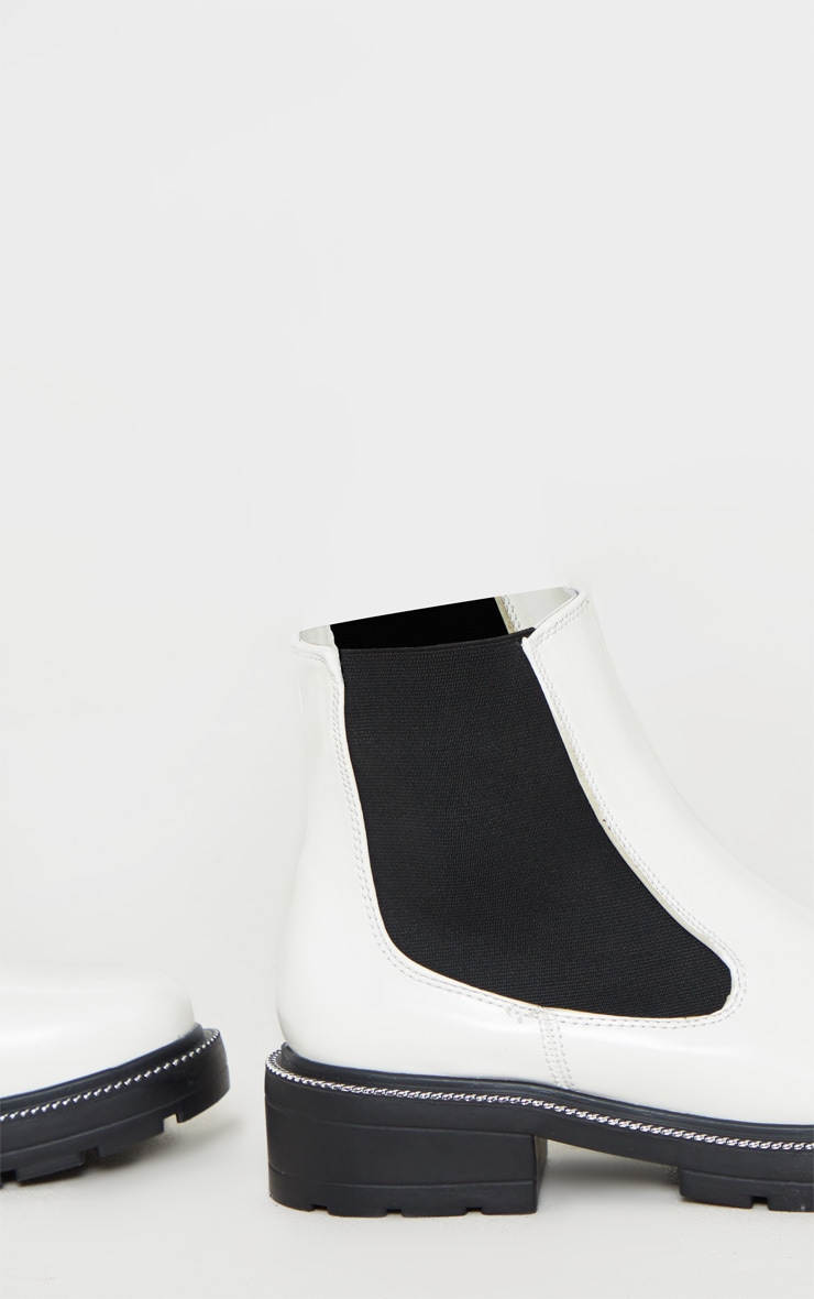White Chain Sole Cleated Chunky Chelsea Ankle Boot 4