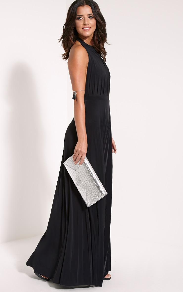 Lorelei Black Halterneck Pleated Maxi Dress 3